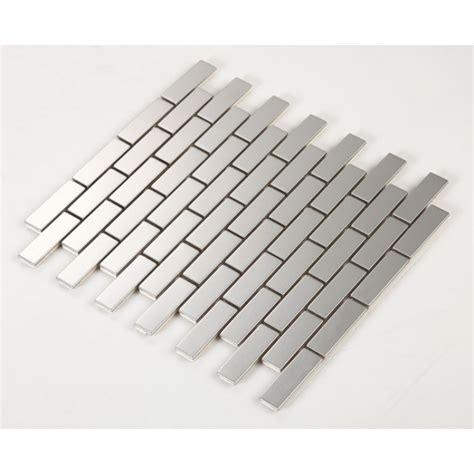 metallic subway tile stainless steel backsplash porcelain base subway tile grey