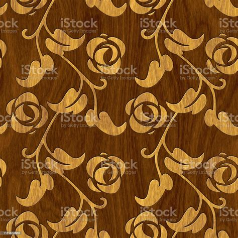 carved flowers pattern  wood background seamless texture