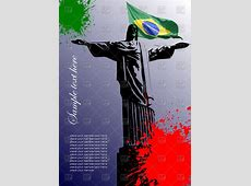 Statue of Christ the Redeemer and flag of Brazil in