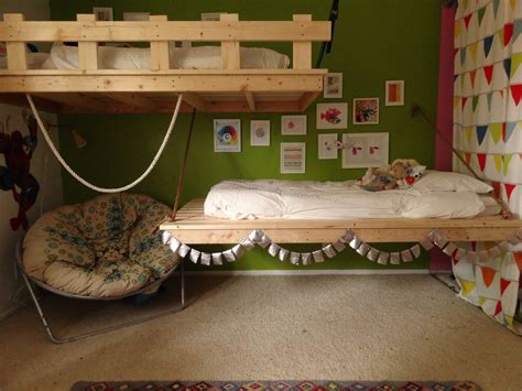 how to make a suspended bed hanging beds for our 3 and 5 year olds ana white woodworking projects