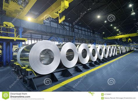 packed rolls  steel sheet editorial photography image