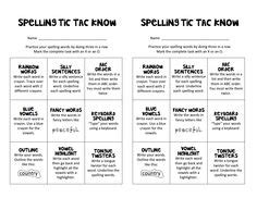 spelling choice boards images grade spelling