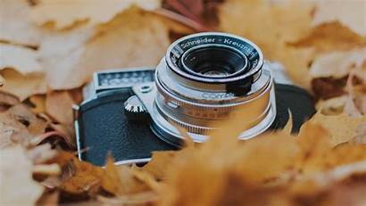 Camera Leaves Foliage Dry Autumn Background Widescreen