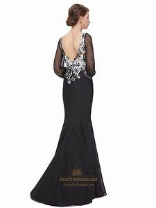 Black And White Lace Bodice Chiffon Prom Dress With Long ...