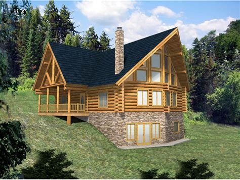 hickory creek  frame log home plan   house plans