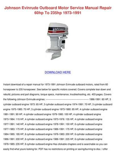 Johnson 115 V4 Outboard Wiring Diagram Pdf by Johnson Evinrude Outboard Motor Service Manua By Norene