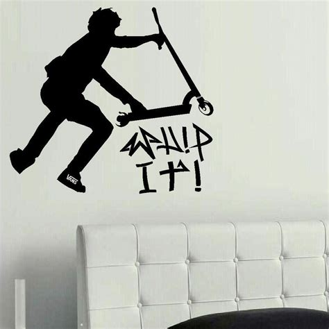 Childrens Bedroom Stencils by Large Stunt Trick Scooter Children Bedroom Wall Mural