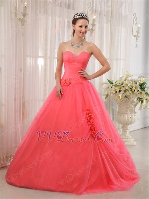 melon colored dress water melon quinceanera dress with handmade flower