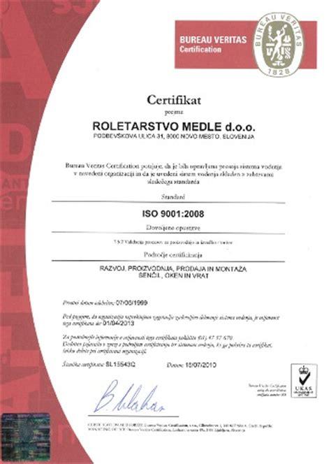 zertifikat bureau veritas iso 9001 2008 roletarstvo medle