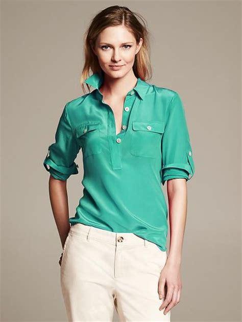 banana republic silk blouse banana republic silk utility blouse in green everglade