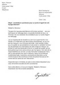 lettre de motivation agent de nettoyage d 233 butant