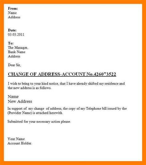 11 address format on a address change letter format to bank letter of
