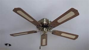 52 U0026quot  Halsey Ceiling Fan In Antique Brass With Cane Blades