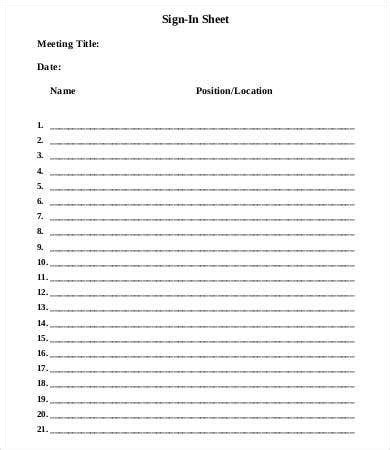 meeting sign  sheet template   word