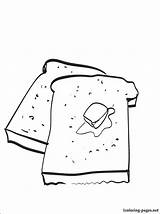 Toast Coloring Printable Drawing Children Line Penciling Eat Those sketch template