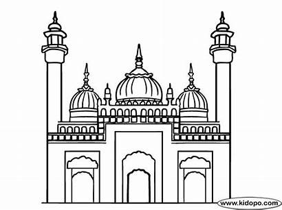 Mosque Coloring Pages Ramadan Sketch Masjid Colouring