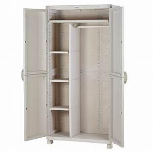 Meuble Plastique Exterieur : armoire de rangement blanche en plastique plastiken 184x90x45 ~ Teatrodelosmanantiales.com Idées de Décoration