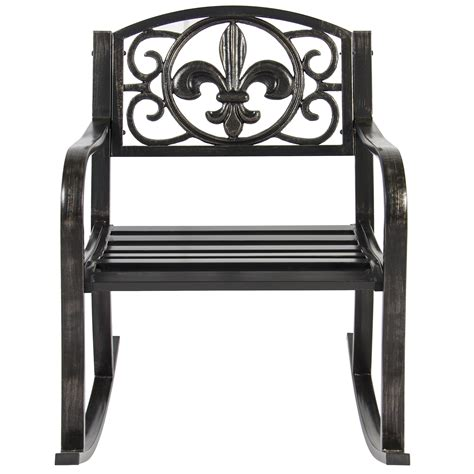 patio metal rocking chair porch seat deck outdoor backyard