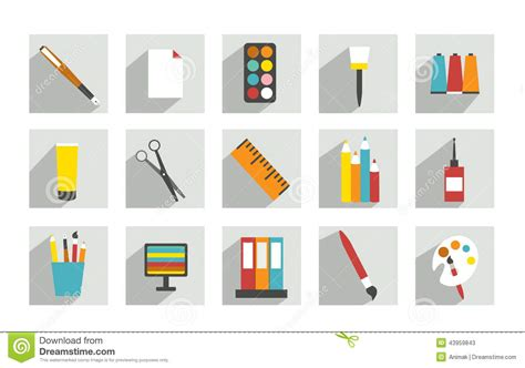 Work Office Or School Icons. Stock Vector