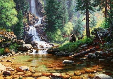 Beautiful Nature Animal Wallpapers - forest waterfall painting artwork i like