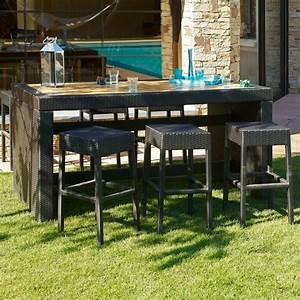 Bar Exterieur De Jardin : cuba ensemble table bar de jardin et 6 tabourets r sine ~ Dailycaller-alerts.com Idées de Décoration
