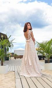 cream color boho a line vintage inspired fully lace With a line boho wedding dress