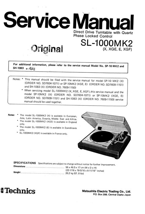Technic Sl 1600 Wiring Diagram by Technics Sl 1000 Mk2 Turntable Service Manual Em 2019
