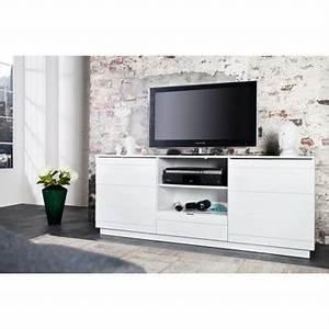 Meuble Tele Haut : meuble tele haut meuble tv blanc laqu 140 cm trendsetter ~ Teatrodelosmanantiales.com Idées de Décoration