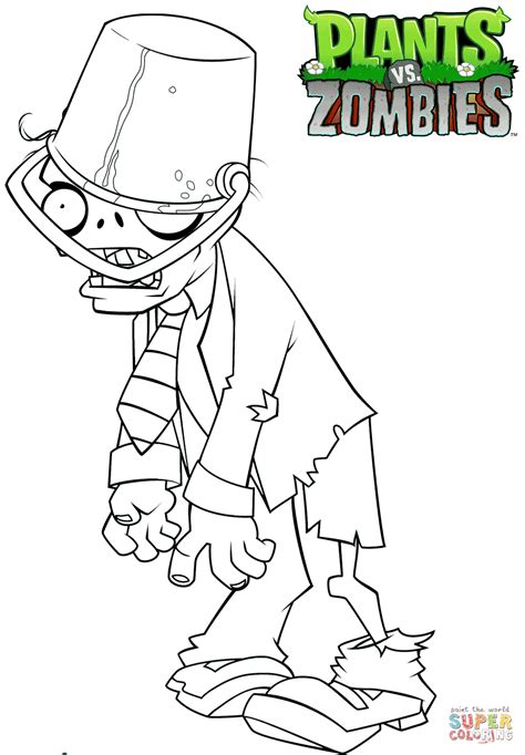 Coloring Zombies Plants by Plants Vs Zombies Buckethead Coloring Page Free