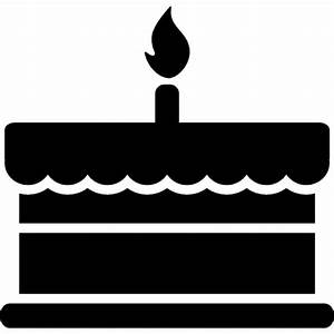 Birthday cake with one burning candle Icons   Free Download