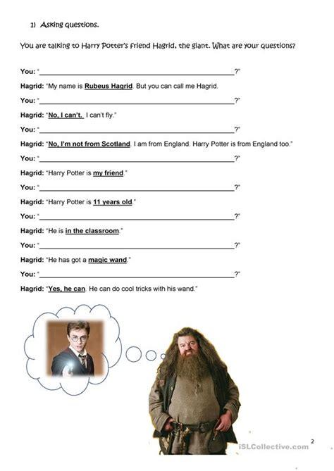 harry potter  beginners english esl worksheets
