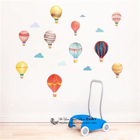 watercolour hot air balloon cloud removable kids wall