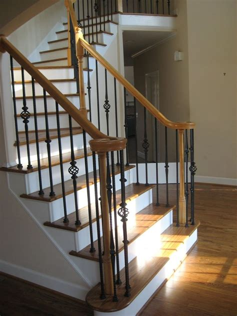 New Banister And Spindles - new hardwood staircase and wrought iron balusters