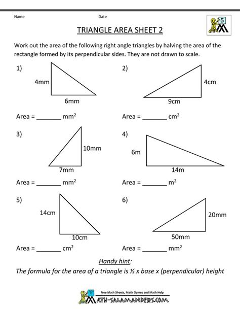 area of a triangle worksheets 7th grade triangle area sheet 2 sheet 2 answers school math