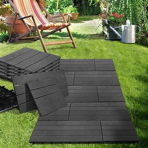 dalles terrasse exterieur bois composite anthracite With dalles clipsables pour terrasse