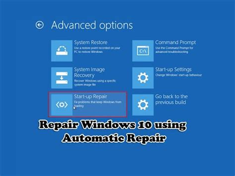Repair Windows 10 Using Automatic Repair  Youtube