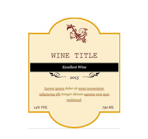 Wine Label Template 40 Free Wine Label Templates Editable Template Archive