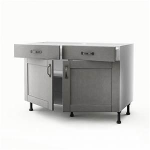 meuble de cuisine bas gris 2 portes 2 tiroirs nuage h70 With exceptional meuble cuisine bas 120 cm 7 meuble bas 120 cm 2 portes 2 tiroirs