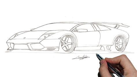 como desenhar carros lamborghini murcielago lp  passo