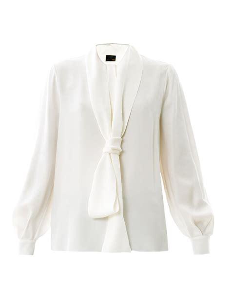 silk tie neck blouse fendi neck tie silk blouse in white lyst