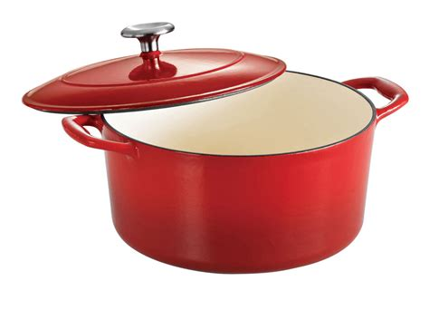 tramontina enameled cast iron  dutch oven  quart red cutlery