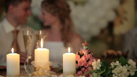stock video  burning candles   wedding table