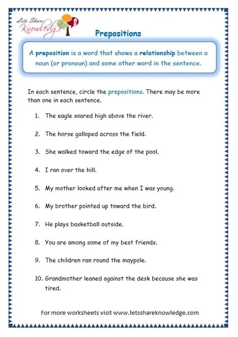 preposition worksheets for grade 10 with answers