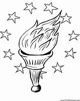 Pages Torch Coloring Liberty Statue Olympic Flame July Drawing Easy Outline Fourth Printable Senses Patriotic Stars Coloringpages Snowy Owl Clipartmag sketch template