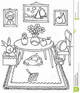Coloring Pages Worksheets Messy Bedroom Toys Dining Table Printable Chair Living Cartoon Children Furniture Teaching Hygiene Kindergarten Personal Template Bedrooms sketch template