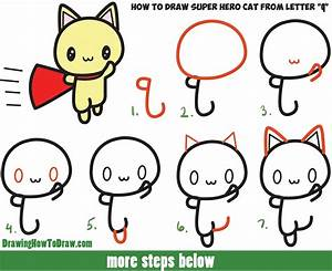 How to Draw a Cute Cat Super Hero (Kawaii) with Easy Step ...