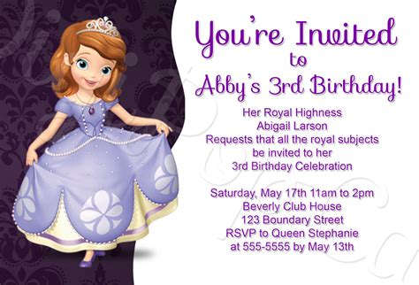 sofia   birthday party invitations  party ideas