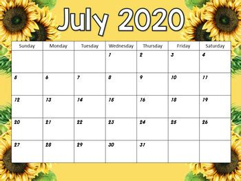 monthly calendars rustic sunflower themed