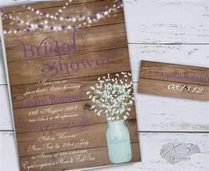 mason jar bridal shower invitation rustic wedding shower With rustic mason jar wedding invitations with lights