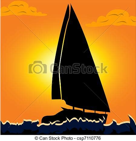 Sail boat. Vector illustration of a silhouette of a ...
